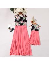 Mother Girl V Neck Flower Patchwork Casual Dress