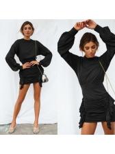Fashion Ruffled Draped Lantern Sleeve Asymmetrical Dress