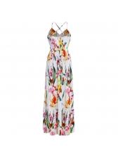 Deep V Neck Cross Belt Backless Floral Maxi Dress