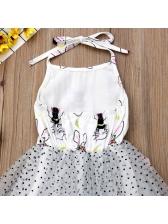 Rabbit Dot Backless Gauze Tie-Wrap Girl Dress