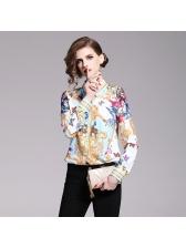 Elegant Printed Button Up Blouse Design
