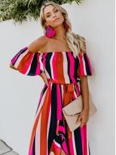 A-Lined Striped Tie-Wrap Asymmetrical Maxi Dress