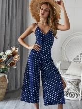 Sexy Polka Dots V-Neck Wide Leg Navy Jumpsuits