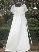 Off Shoulder Lace Tie-Wrap Maxi Dress
