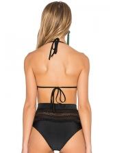 Simple Design Tassels Gauze Halter Bikini