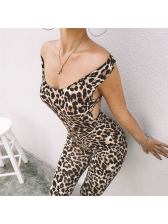 Stylish Leopard Print Hollow Out Sleeveless Jumpsuits