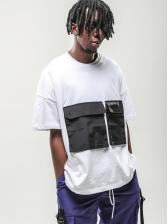 Simple Style Pocket Patchwork Men T-Shirt