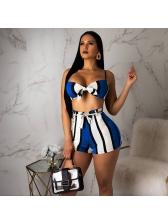 Euro Sexy Adjustable Striped 2 Piece Shorts Set