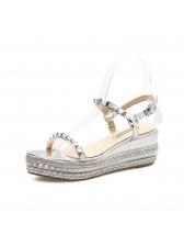 Fashionable Round Toe Rivet Straps Sandals