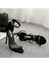 Korean Design Ankle Strap Diamond Lady Sandals