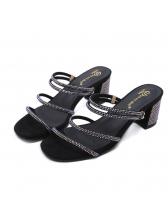 Euro Rhinestone Strappy Chunky Heel Slippers