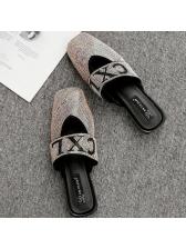 Stylish Letter Diamond Square Toe Mules Slippers