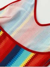 Sexy U Neck Striped Colorful Halter Dress