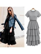 Simple Design Tiered Ruffles Short Sleeve Midi Dresses