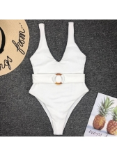 Deep V Neck Ring Decor One Piece Swimsuit