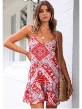 Bohemian V Neck Flower Print Dress