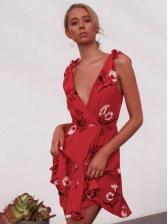 V Neck Flower Ruffles Hem Sleeveless Dress