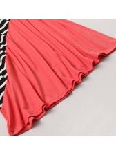 Striped Patchwork Long Sleeve Dress Family Set