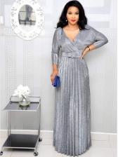 Fashion V Neck Pleated Maxi Dresses