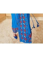 Tassels Boho Embroidery Maxi Dress