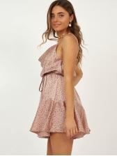 Dots Backless Ruffled Hem Strap Dress