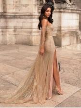 Boat Neck Shiny Gauze Split Floor Length Dress