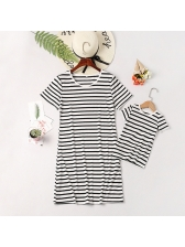 Casual Striped Crew Neck T-Shirt Dress Family Sets