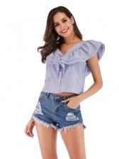 V Neck Ruffled Striped Short Blouse For Women