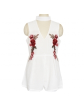 Euro V-Neck Embroidery Ruched Sleeveless Rompers