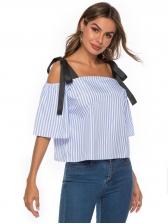 Striped Off Shoulder Self Tie Blouse