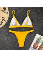 Euro Hot Sale V Neck Solid Bikini Sets