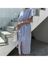 Striped Cross Binding Split Hem Midi Dress
