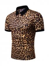 Chic Leopard Short Sleeve Men Polo Shirt