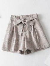 Simple Design Plaid Binding Bow Wide Leg Shorts