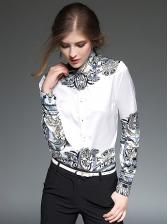 Printing Turndown Collar Womens Blouses