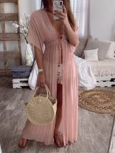 Tie-Wrap Cardigan Vacation Pink Maxi Dress