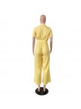 V Neck Tie-Wrap Solid Wide Leg Jumpsuit