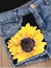 Kid Letter Print Tank With Sunflower Denim Shorts