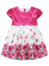 Crew Neck Rose Patchwork Girls Flower Dress