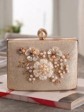 Faux Pearl Flower Decor Evening Handbag