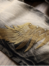 Vintage Style Embroidery Wings Ripped Jeans