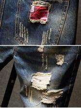 Casual Scratch Patchwork Destroyed Half Jean