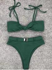 Euro Bownot Metal Lock High Waisted Bikini
