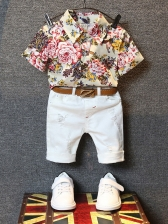 Turndown Neck Flower Boys 2 Piece Pants Set