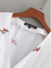 Rural Style V Neck Embroidery White Blouse