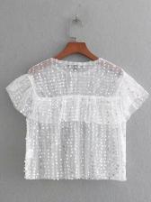 Hot Sale Sequin Gauze Perspective T-Shirt