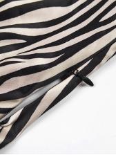 Zebra Print Self Tie Fitted Dresses