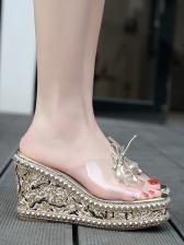 Summer Rivet Binding Bow Square Toe Wedges Slippers