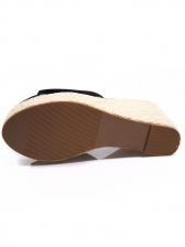 Simple Design Solid Suede Slide Wedges Slippers