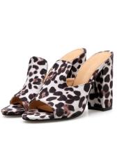 Stylish Leopard Print Peep-Toe Chunky Slippers